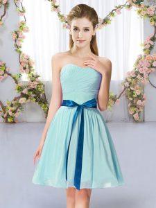 Mini Length Aqua Blue Bridesmaids Dress Sweetheart Sleeveless Lace Up