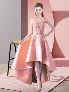 Peach Sleeveless Satin Zipper Wedding Guest Dresses for Wedding Party