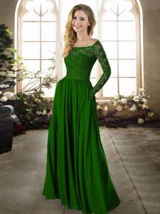 Long Sleeves Lace Zipper Bridesmaids Dress
