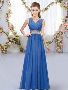 Glittering Blue Sleeveless Beading and Belt Floor Length Bridesmaid Dresses