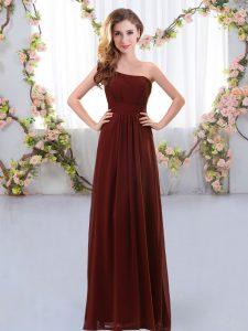 Admirable One Shoulder Sleeveless Chiffon Bridesmaid Gown Ruching Zipper