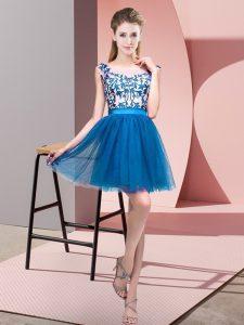 High Class Blue A-line Bateau Sleeveless Tulle Mini Length Zipper Lace Bridesmaid Dresses