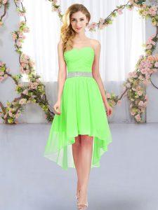 Empire Belt Bridesmaid Dresses Lace Up Chiffon Sleeveless High Low