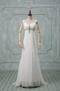 White Empire Straps Sleeveless Chiffon Brush Train Lace Up Beading Wedding Gown