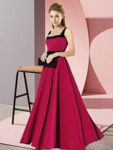 Fuchsia Empire Belt Wedding Party Dress Zipper Chiffon Sleeveless Floor Length