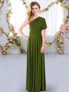 Comfortable Olive Green One Shoulder Neckline Ruching Bridesmaid Dresses Sleeveless Criss Cross