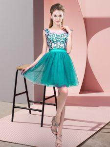 Fancy Sleeveless Zipper Mini Length Lace Bridesmaid Gown
