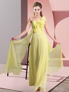 Fashionable One Shoulder Sleeveless Chiffon Bridesmaid Dress Hand Made Flower Lace Up