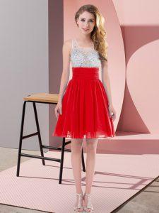 Beauteous Scoop Sleeveless Chiffon Bridesmaid Dresses Beading Side Zipper