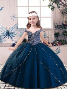 Latest Navy Blue Lace Up Beading Child Pageant Dress Tulle Sleeveless