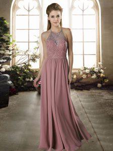 Pretty Pink Halter Top Criss Cross Lace Bridesmaid Dresses Sleeveless
