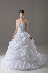 Sweet Beading and Pick Ups Bridal Gown White Lace Up Sleeveless Brush Train