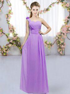 Lavender Empire One Shoulder Sleeveless Chiffon Floor Length Lace Up Hand Made Flower Bridesmaids Dress