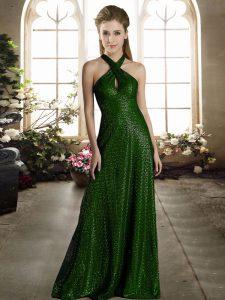 Sleeveless Sequined Floor Length Zipper Bridesmaid Dresses in Dark Green with Sequins