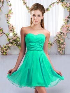 Edgy Turquoise Sleeveless Mini Length Ruching Lace Up Bridesmaid Dresses