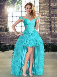 Vintage Aqua Blue Sleeveless Beading and Ruffles High Low Flower Girl Dresses for Less