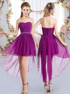 Gorgeous Beading Bridesmaid Dress Purple Lace Up Sleeveless High Low