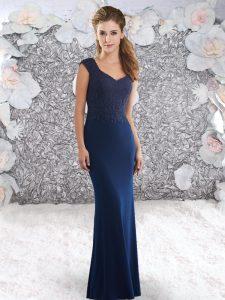 V-neck Sleeveless Prom Dress Sweep Train Beading Navy Blue Elastic Woven Satin