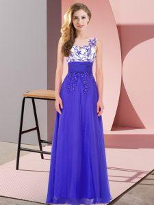 Sumptuous Blue Empire Chiffon Scoop Sleeveless Appliques Floor Length Backless Bridesmaid Dresses