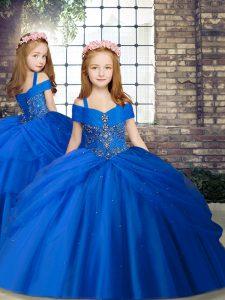 Elegant Royal Blue Lace Up Straps Beading Little Girl Pageant Dress Chiffon Sleeveless