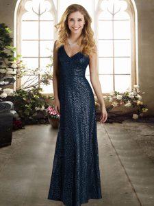 Dramatic V-neck Sleeveless Sequined Wedding Party Dress Sequins Zipper