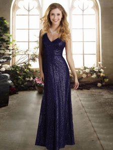 V-neck Sleeveless Sequined Wedding Party Dress Sequins Zipper