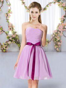 Extravagant Sleeveless Belt Lace Up Bridesmaid Dresses