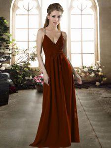 Elegant Brown Spaghetti Straps Neckline Ruching Bridesmaids Dress Sleeveless Criss Cross