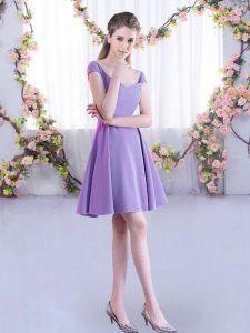 Custom Made A-line Bridesmaid Gown Lavender Straps Chiffon Cap Sleeves Mini Length Zipper