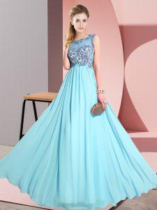 Beading and Appliques Wedding Party Dress Aqua Blue Backless Sleeveless Floor Length