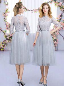 Tea Length Empire Half Sleeves Grey Bridesmaid Gown Zipper