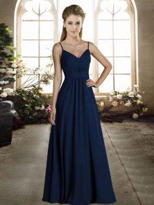 Stylish Royal Blue Empire Chiffon Spaghetti Straps Sleeveless Ruching Floor Length Zipper Wedding Guest Dresses