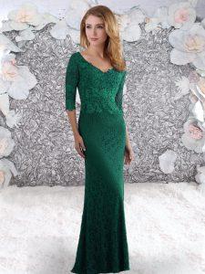 V-neck Half Sleeves Sweep Train Zipper Celebrity Evening Dresses Dark Green Lace