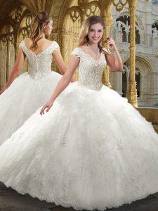 Cap Sleeves Zipper Floor Length Beading and Ruffles Wedding Gowns