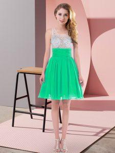 Comfortable Turquoise Chiffon Side Zipper Scoop Sleeveless Mini Length Bridesmaid Dresses Beading