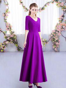 Eggplant Purple Half Sleeves Ankle Length Ruching Zipper Quinceanera Dama Dress