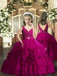 Fuchsia Backless V-neck Beading Girls Pageant Dresses Sleeveless