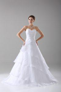 Glamorous Organza Sleeveless Wedding Dress Brush Train and Beading and Ruffled Layers and Hand Made Flower