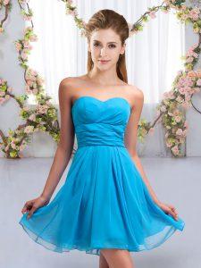 Mini Length Aqua Blue Wedding Guest Dresses Sweetheart Sleeveless Lace Up