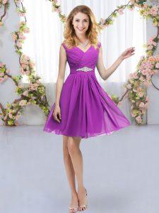 Noble V-neck Sleeveless Zipper Wedding Guest Dresses Purple Chiffon