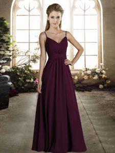 High End Dark Purple Chiffon Zipper Spaghetti Straps Sleeveless Floor Length Bridesmaids Dress Ruching