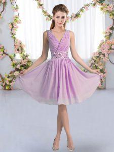 Chic Sleeveless Chiffon Knee Length Zipper Bridesmaid Dress in Lavender with Beading