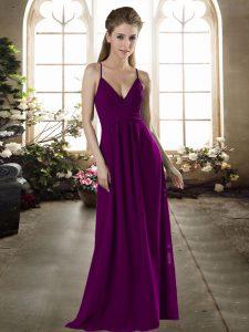 Popular Dark Purple Empire Spaghetti Straps Sleeveless Chiffon Floor Length Criss Cross Ruching Wedding Party Dress