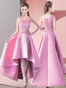 Baby Pink Scoop Neckline Lace Bridesmaid Gown Sleeveless Zipper