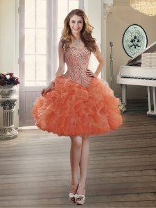 Fine Orange Red Sleeveless Beading and Ruffles Mini Length Prom Dresses