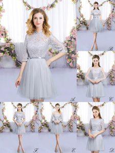Grey Tulle Zipper Bridesmaid Dress Half Sleeves Mini Length Lace and Belt