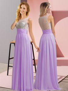 Lavender Sleeveless Beading Floor Length Quinceanera Court of Honor Dress