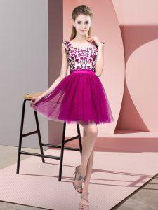 Mini Length Fuchsia Wedding Guest Dresses Tulle Sleeveless Lace