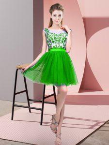 Graceful Green A-line Bateau Sleeveless Tulle Mini Length Zipper Lace Wedding Guest Dresses