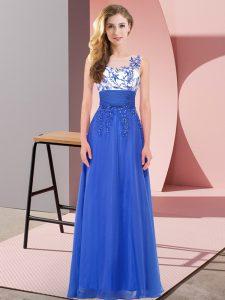 Best Selling Scoop Sleeveless Bridesmaid Dresses Floor Length Appliques Royal Blue Chiffon